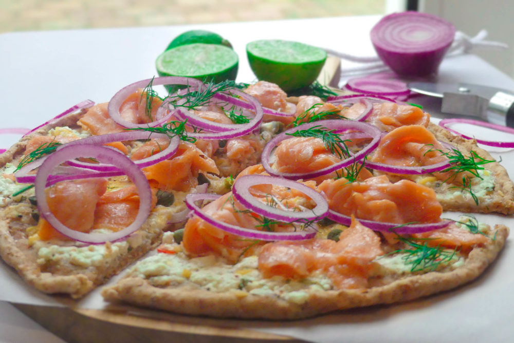 pizza gerookte zalm recept