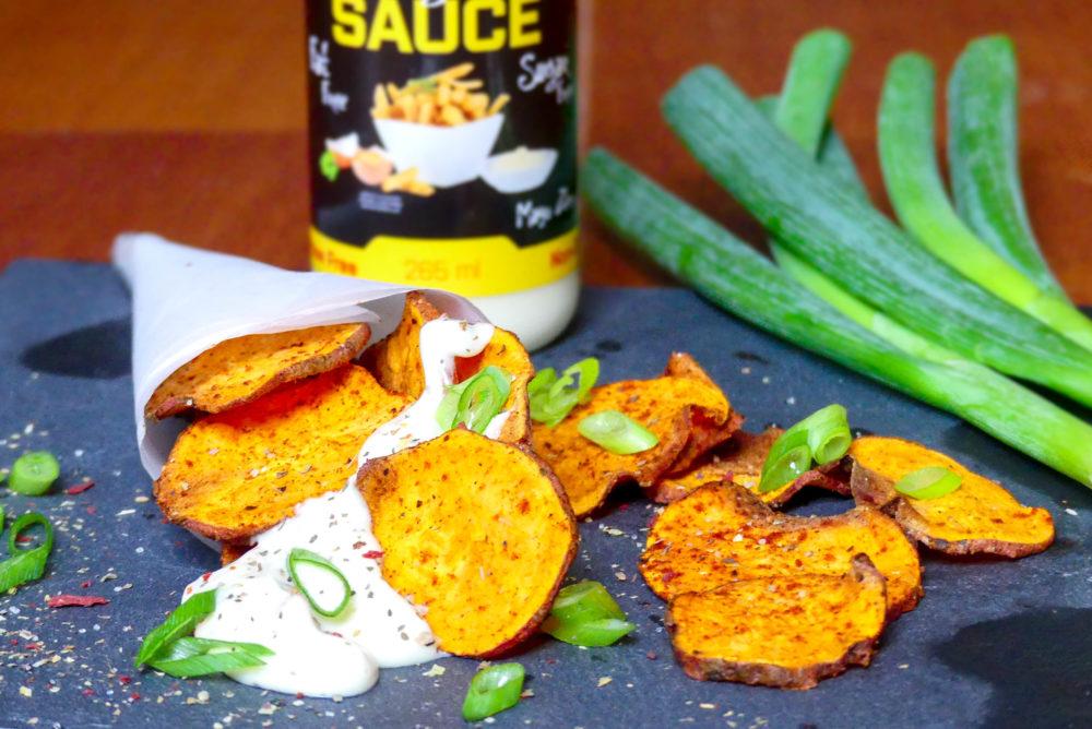 zoete aardappel chips maken