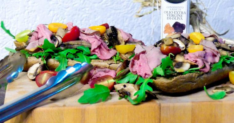 Bospaddestoelen sandwich met rosbief en truffel