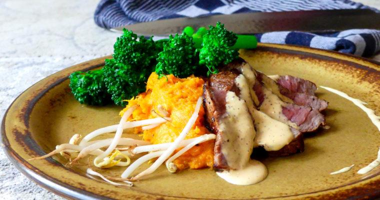 Ierse kogelbiefstuk met zoete aardappel puree