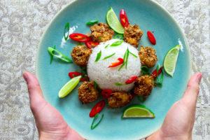 krokante garnalen met rijst