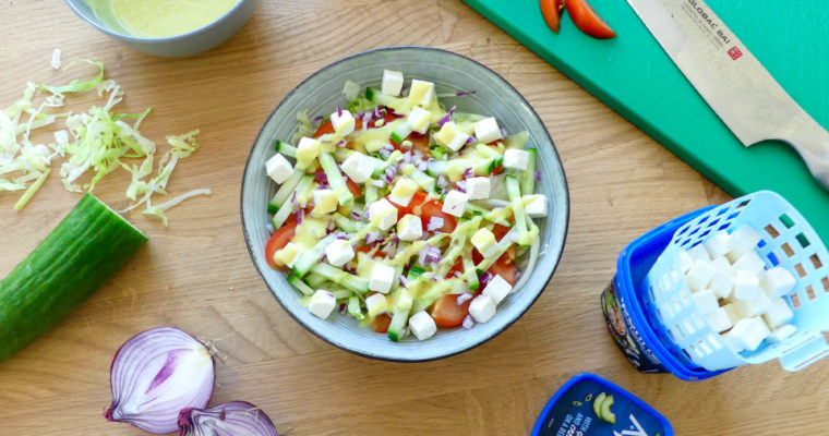 Feta salade met honing-mosterd dressing