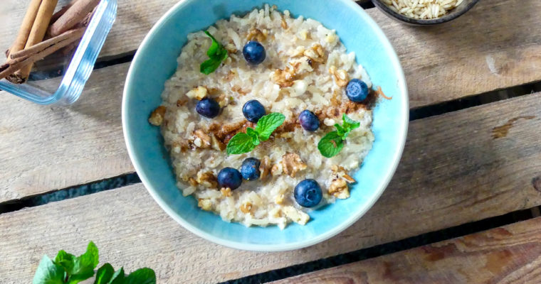 Gezonde rijstepap van zilvervliesrijst