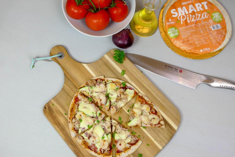 Vispizza met garnalen en tonijn